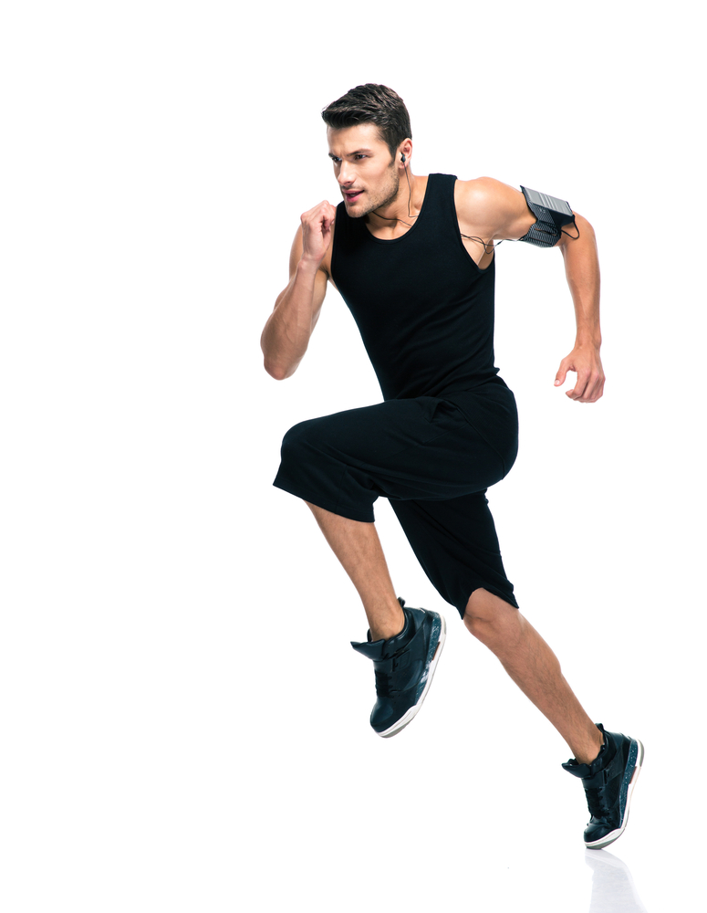 Full length portrait of a fitness man running isolated on a white background-1