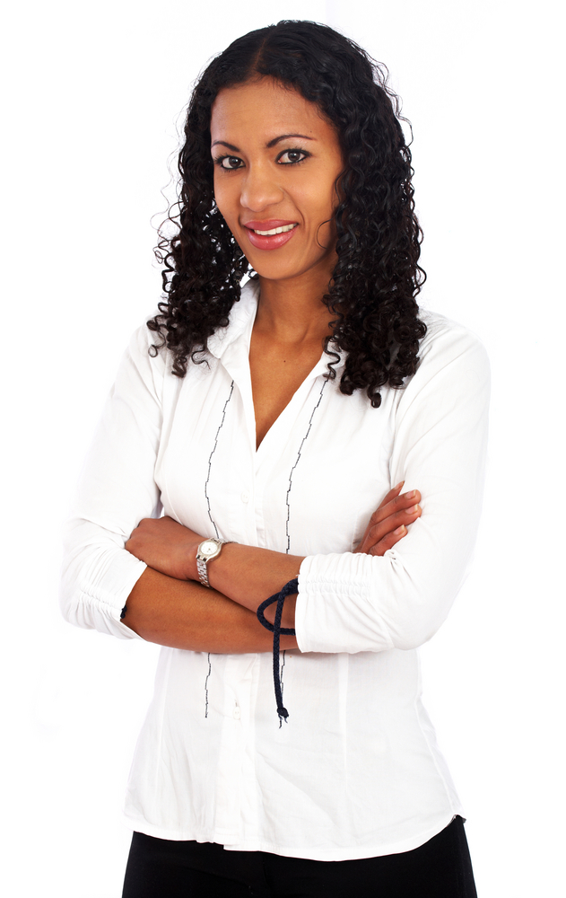 business woman portrait smiling - isolated over a white background