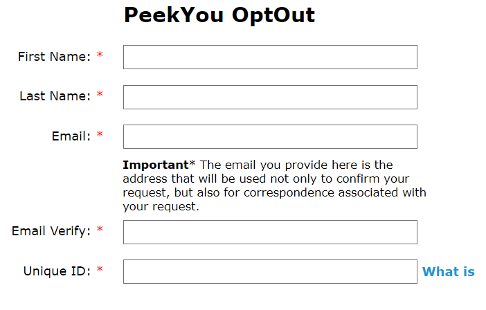 PeekYou opt out page